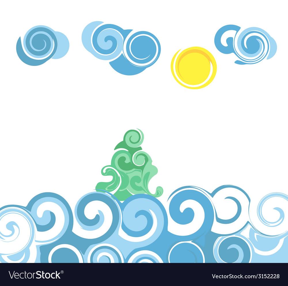 Cartoon sea waves vector | Price: 1 Credit (USD $1)