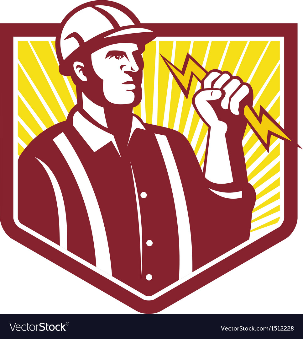 Electrician holding lightning bolt retro vector | Price: 1 Credit (USD $1)