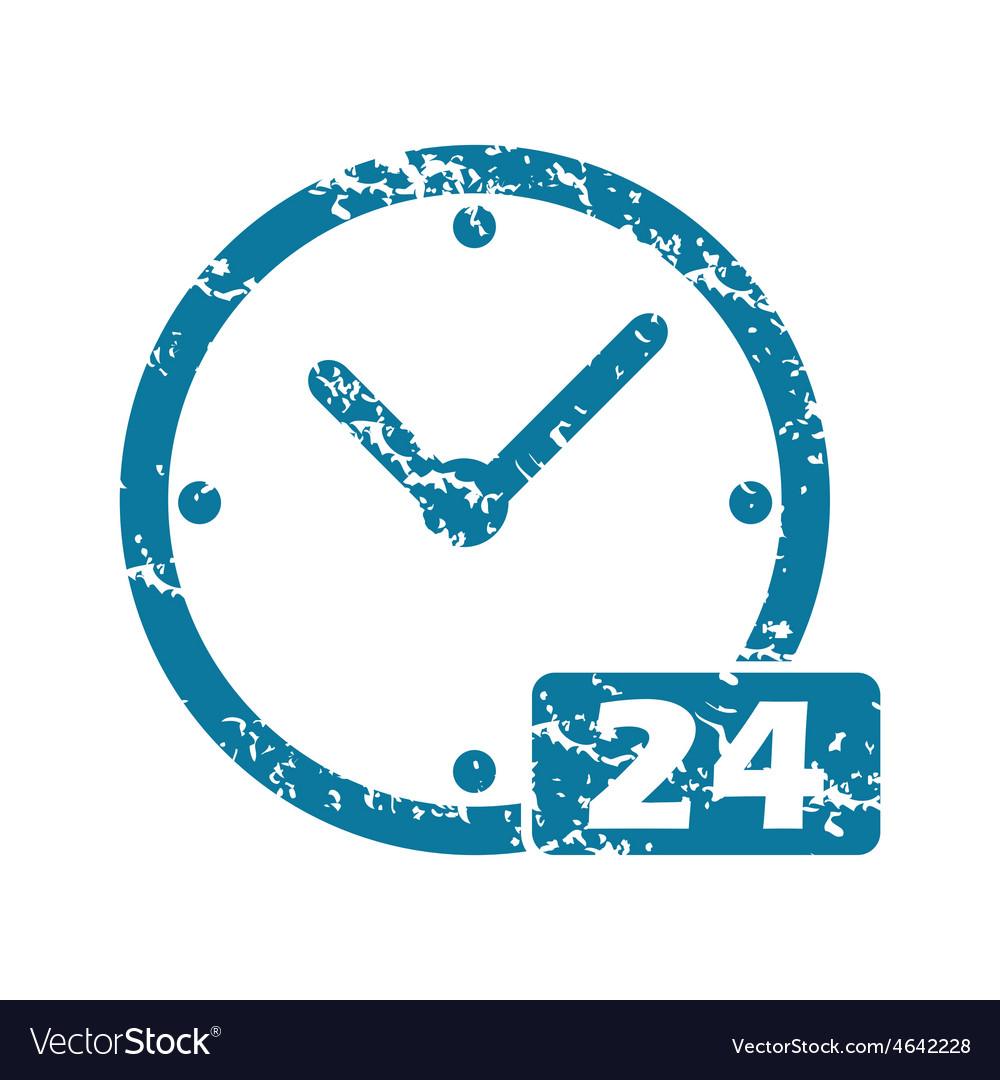 Grunge 24 workhours icon vector | Price: 1 Credit (USD $1)