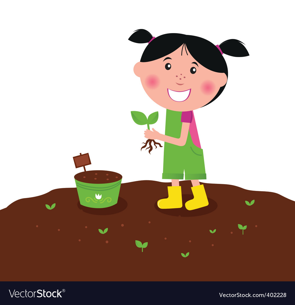 Happy kid is planting plant vector | Price: 1 Credit (USD $1)