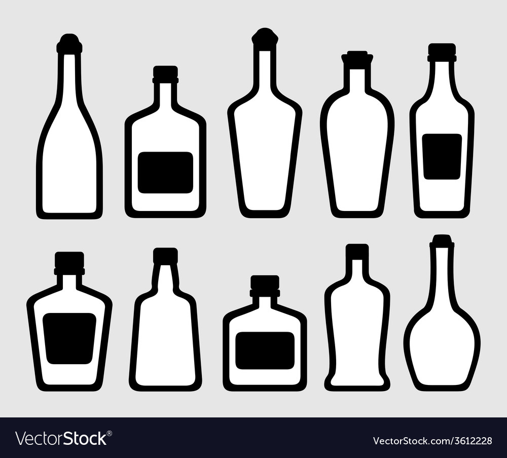 Isolated alcohol bottles set vector | Price: 1 Credit (USD $1)