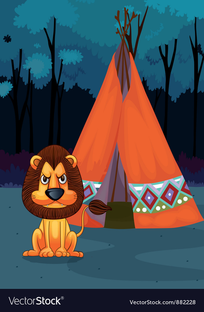 Lion at camp vector | Price: 5 Credit (USD $5)