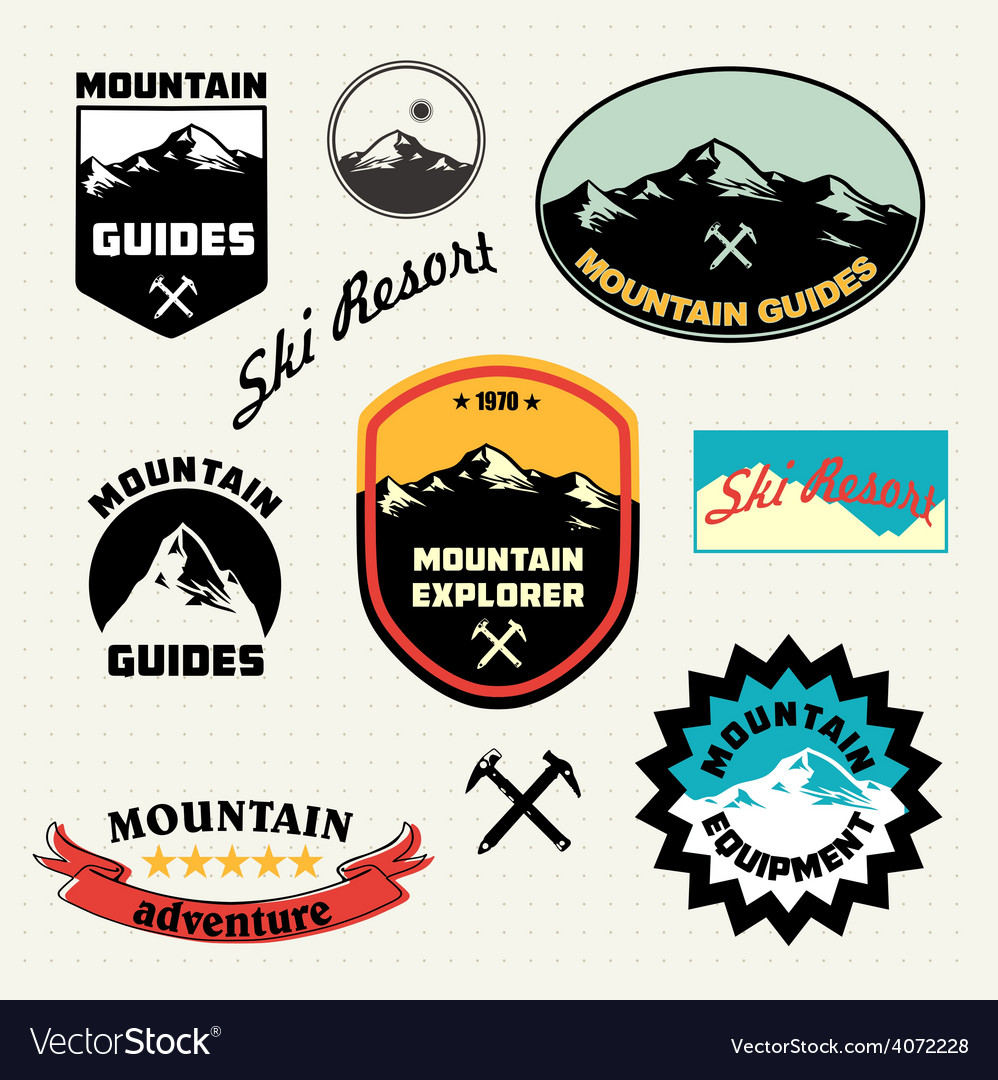 Mountain labels set ski resort logo vector | Price: 1 Credit (USD $1)