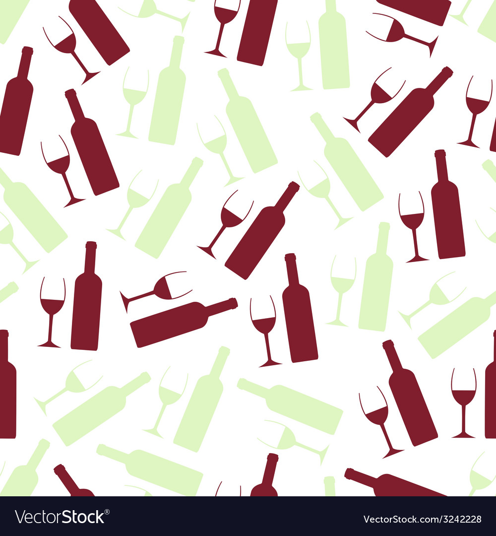 Red and white wine glasses and bottle seamless vector | Price: 1 Credit (USD $1)