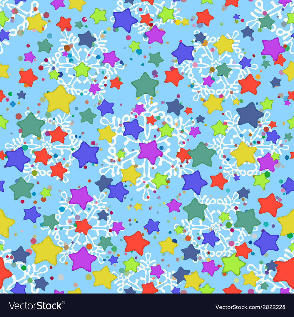 Seamless pattern stars and snowflakes vector   Price: 1 Credit (USD $1)