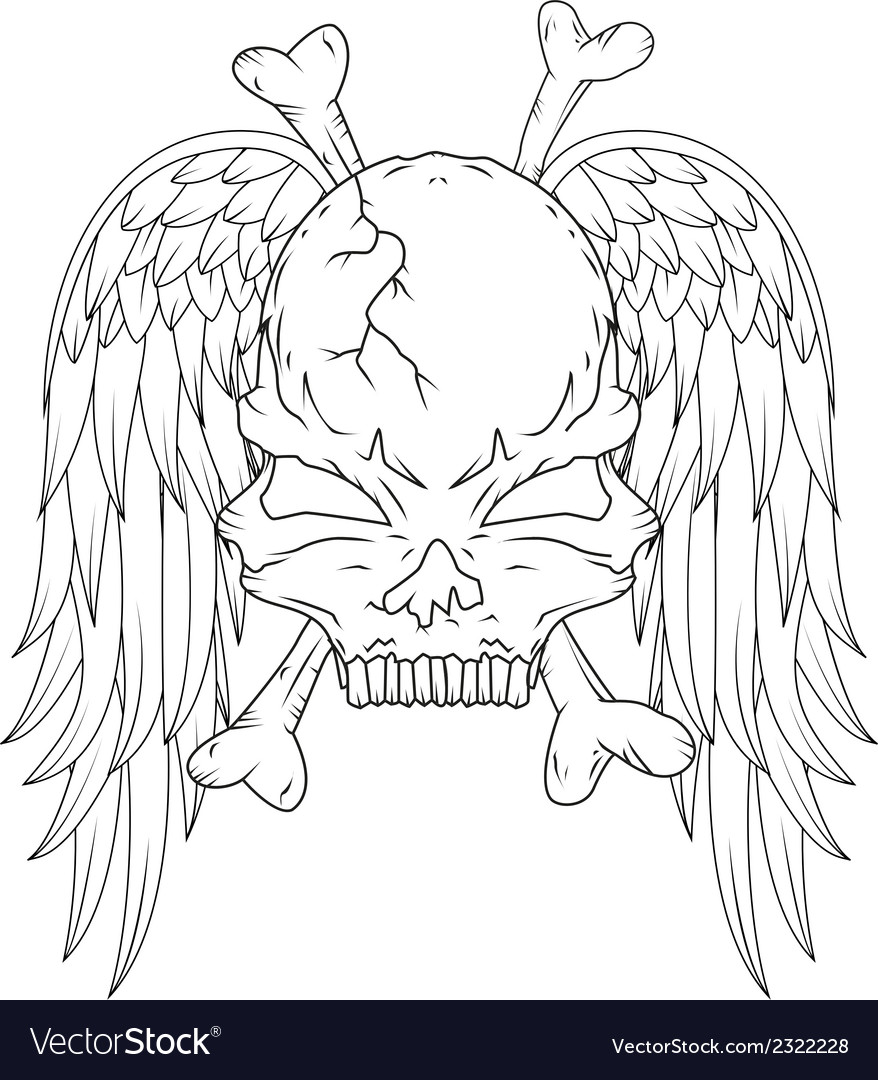 Skull and wings tattoo vector | Price: 1 Credit (USD $1)