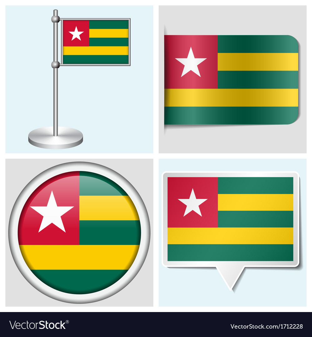 Togo flag - sticker button label flagstaff vector | Price: 1 Credit (USD $1)