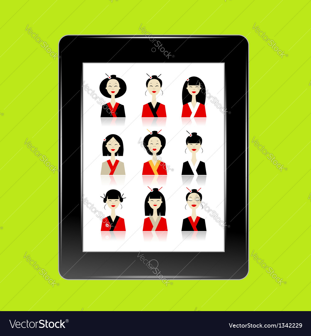 Black abstract tablet pc with asian women avatars vector | Price: 1 Credit (USD $1)