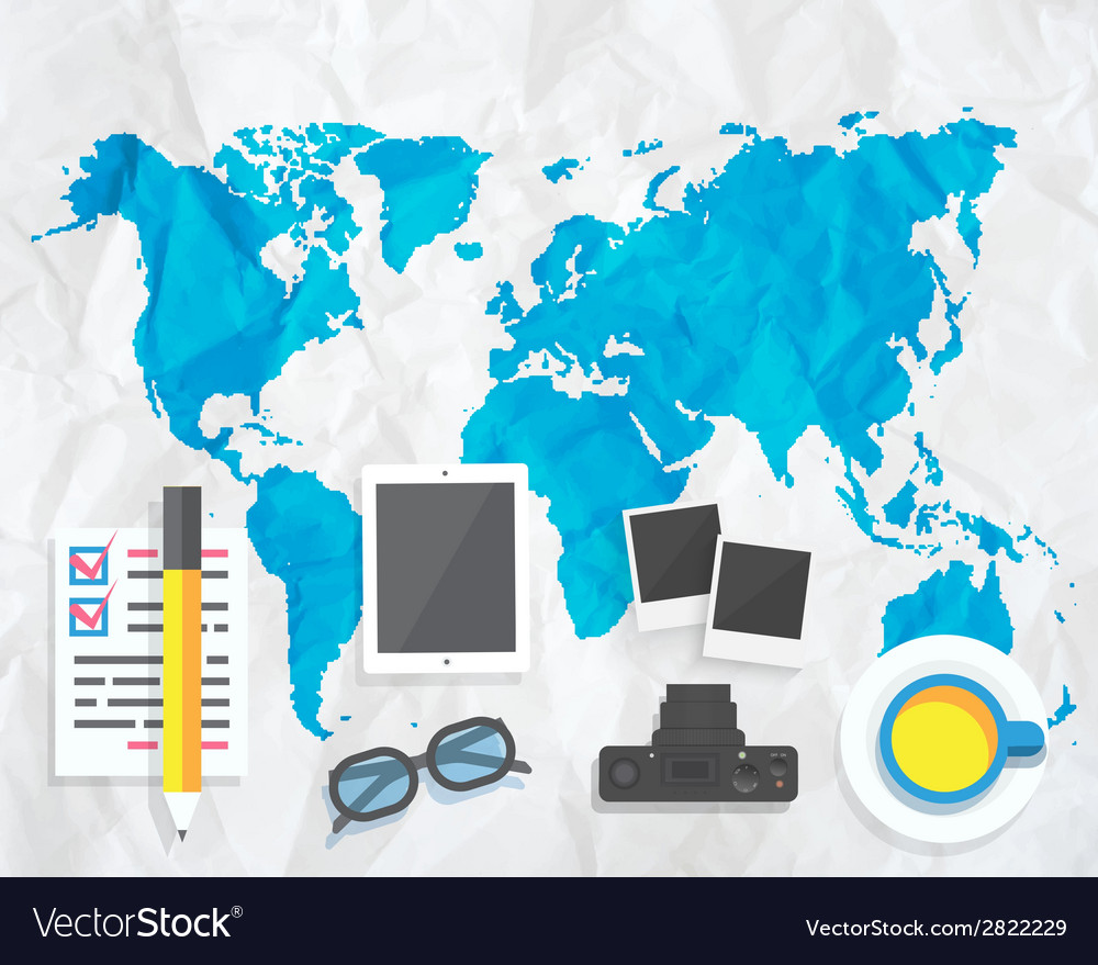 Creative map with camera glasses photos vector | Price: 1 Credit (USD $1)