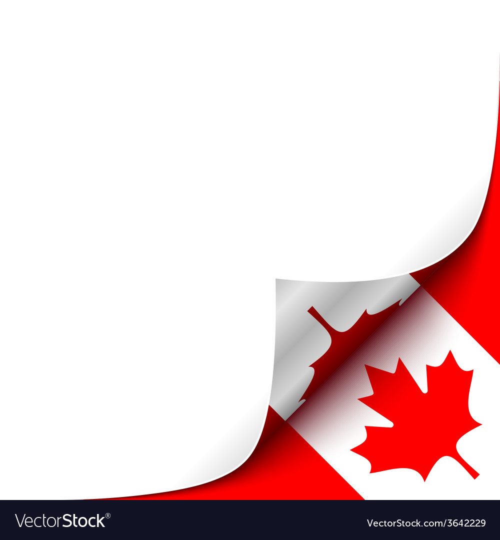 Curled up paper corner on canadian flag background vector | Price: 1 Credit (USD $1)