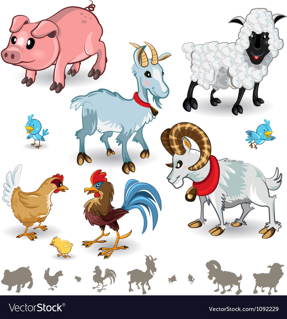 Farm animals collection set 01 vector | Price: 3 Credit (USD $3)