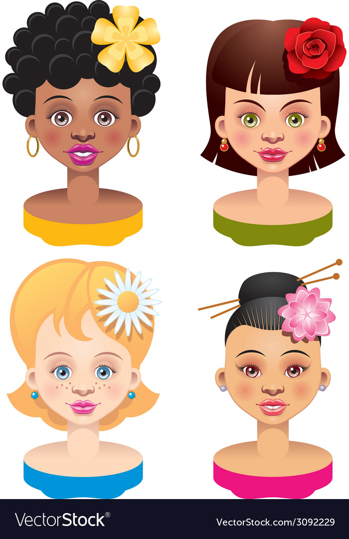 Four girls vector | Price: 1 Credit (USD $1)