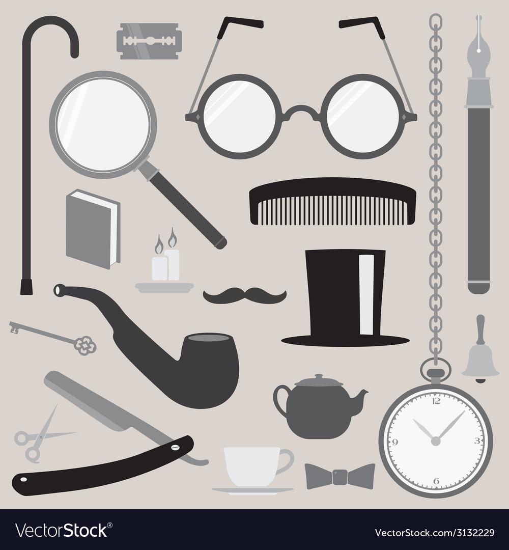 Gentlemens vintage stuff design elements set vector | Price: 1 Credit (USD $1)