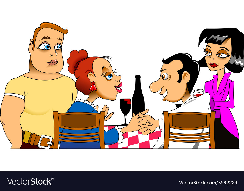 Meeting friends cartoon vector | Price: 1 Credit (USD $1)