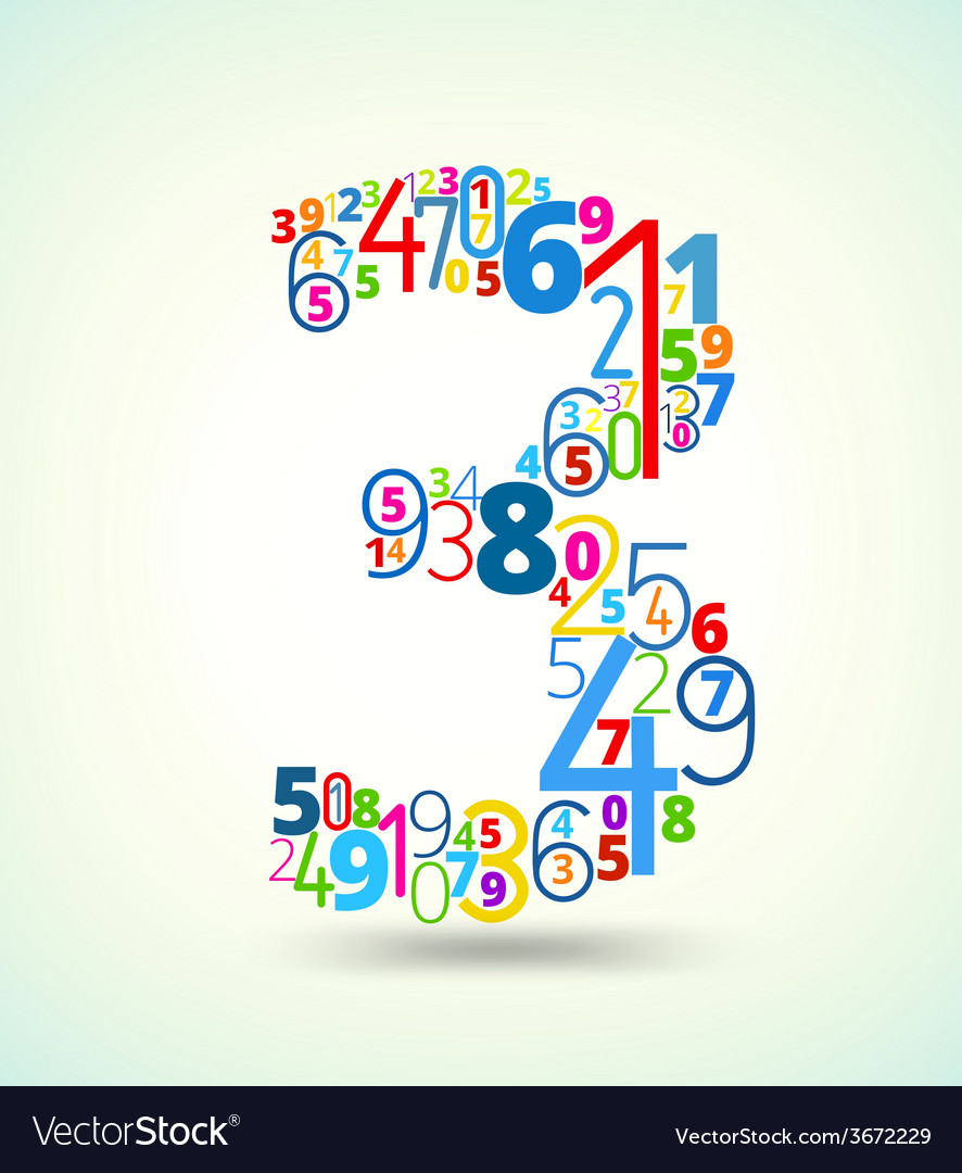 Number 3 colored font from numbers vector | Price: 1 Credit (USD $1)