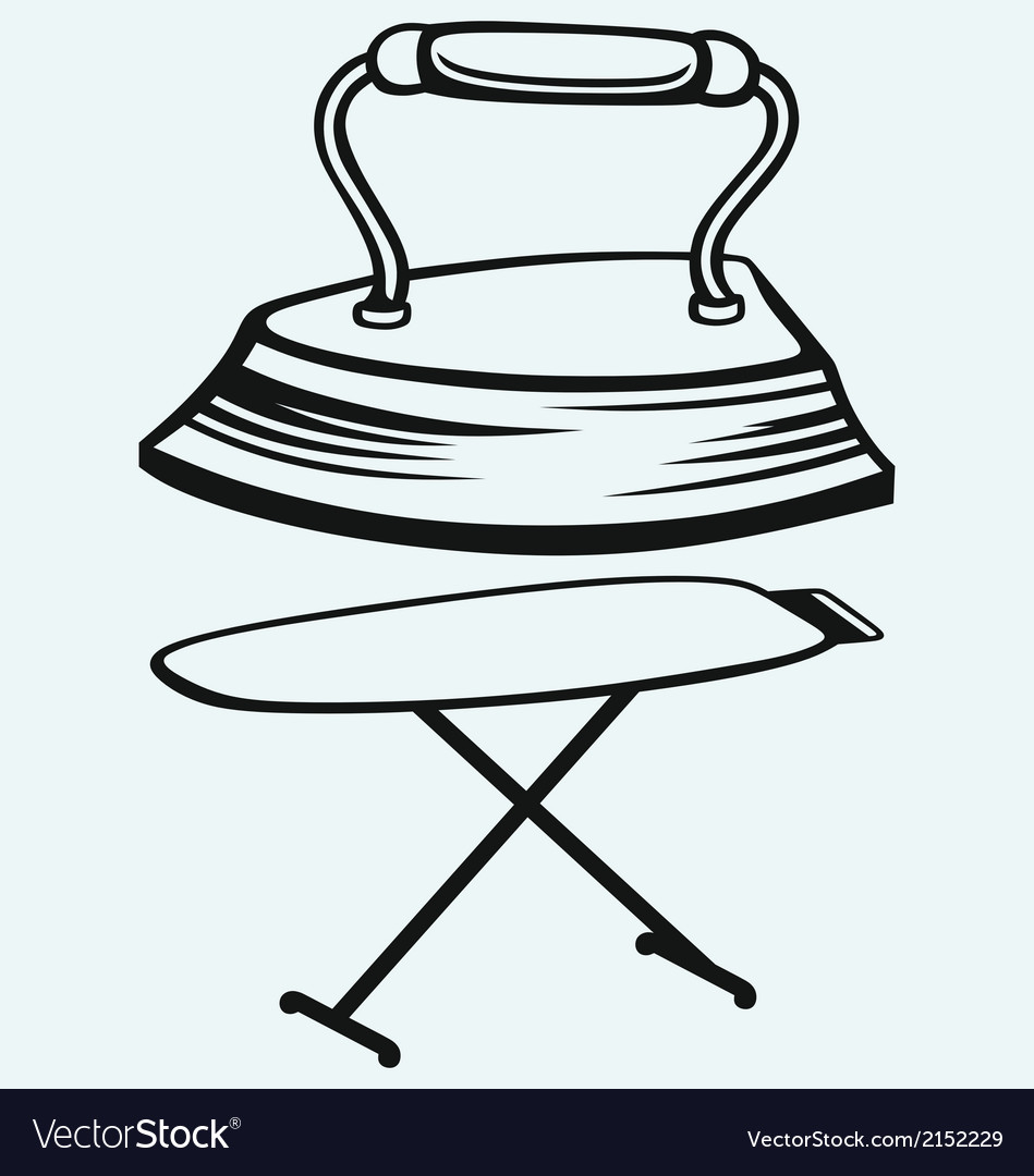 Old iron and ironing board vector | Price: 1 Credit (USD $1)