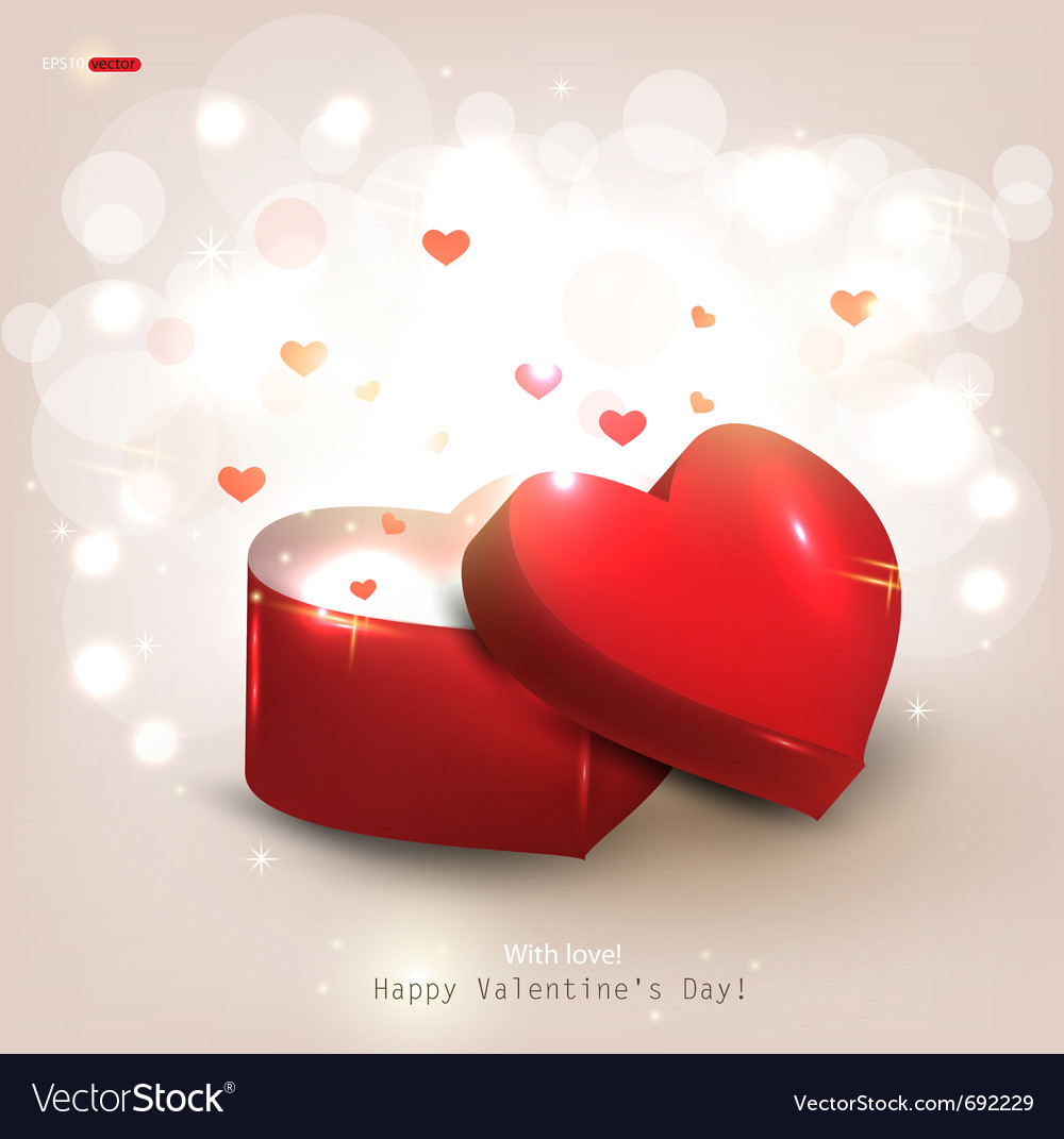 Open heart gift present vector | Price: 1 Credit (USD $1)