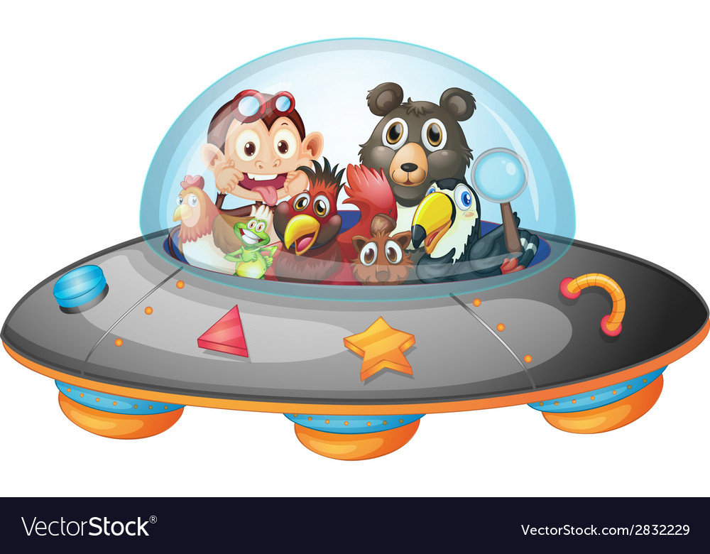 Playful animals inside the saucer vector   Price: 1 Credit (USD $1)