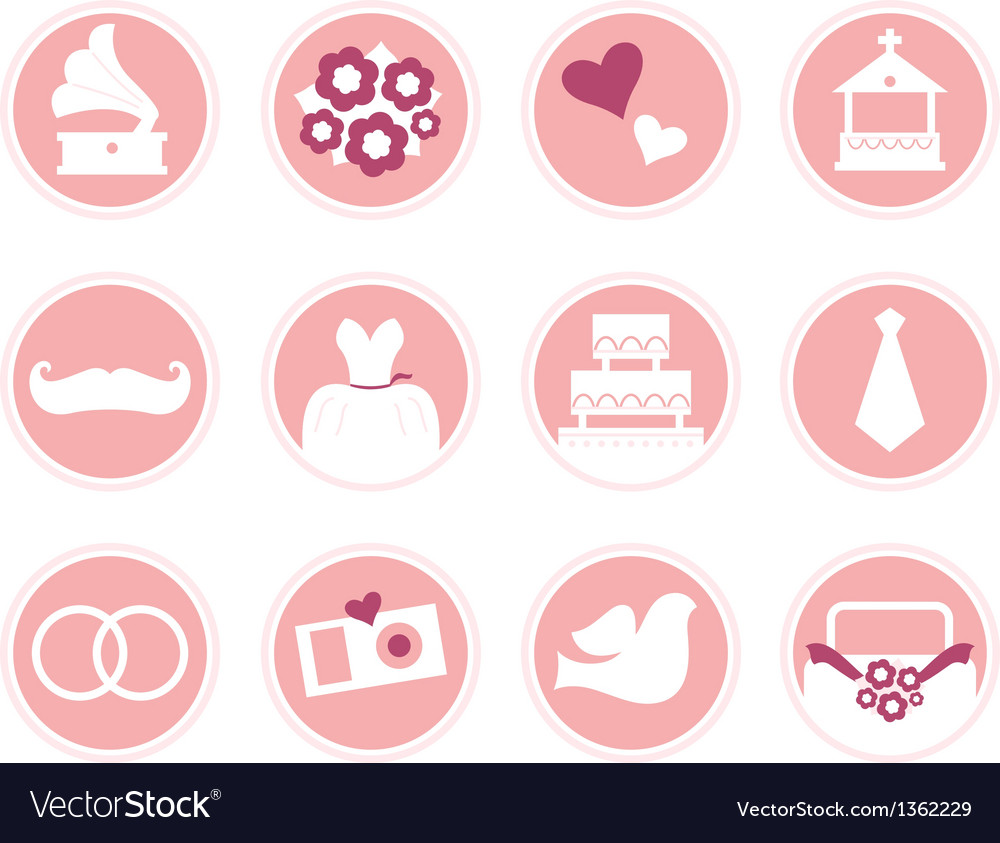 Wedding icons in retro style isolated on white vector | Price: 3 Credit (USD $3)