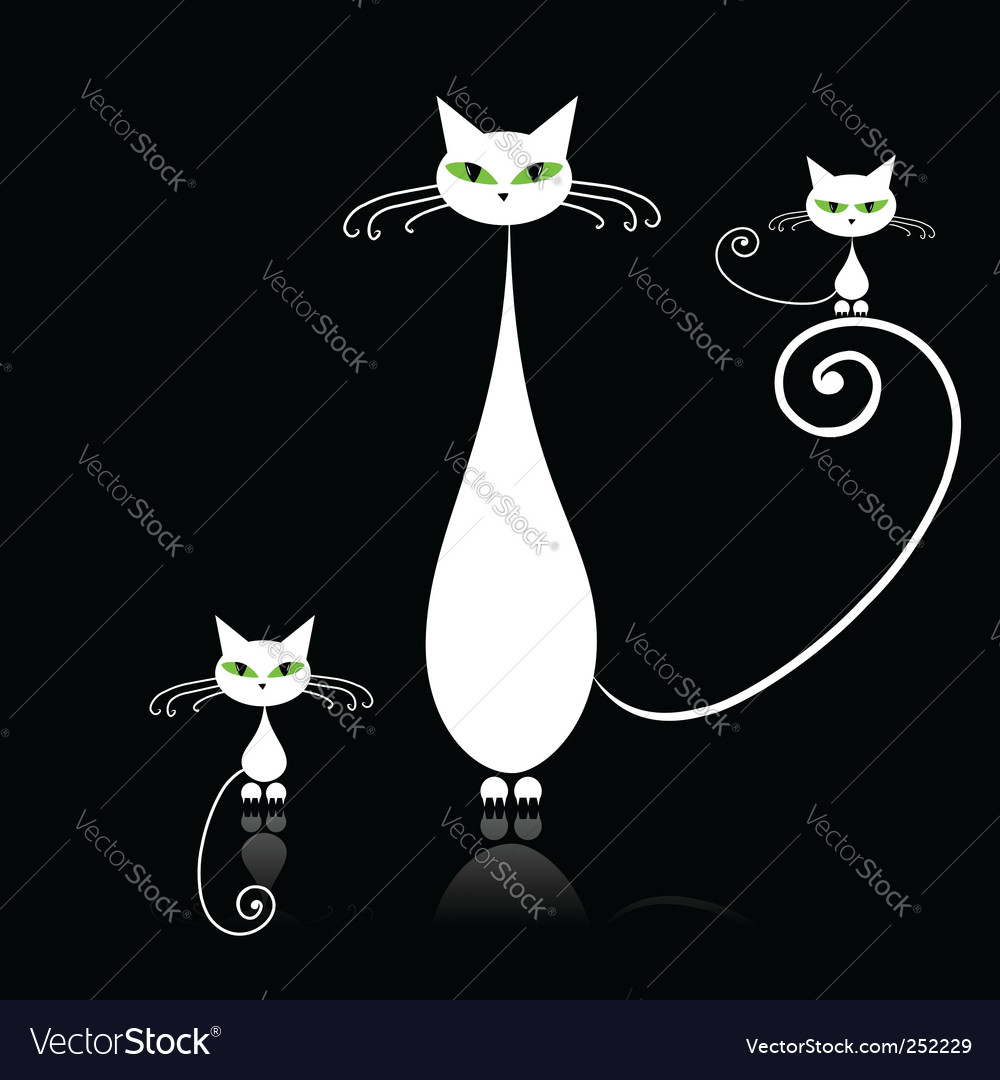 White cat with green eyes vector | Price: 1 Credit (USD $1)