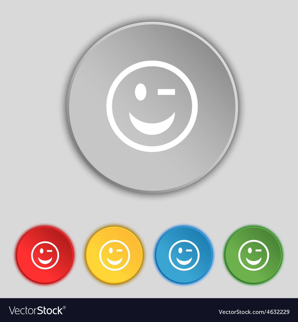 Winking face icon sign symbol on five flat buttons vector | Price: 1 Credit (USD $1)