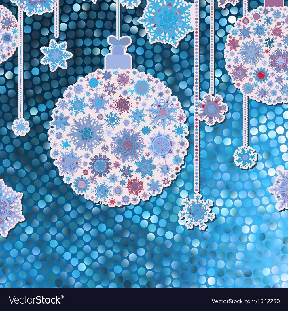 Christmas balls on blue eps 8 vector | Price: 1 Credit (USD $1)