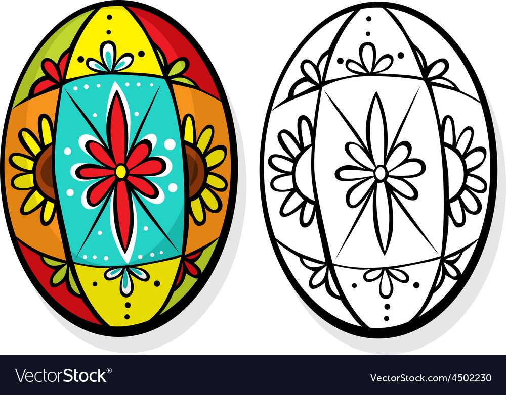Colorful easter egg - coloring book vector | Price: 1 Credit (USD $1)