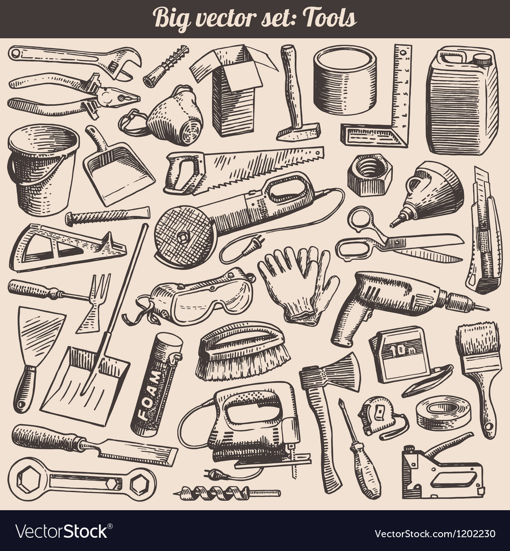 Doodles collection of working tools instruments vector | Price: 3 Credit (USD $3)