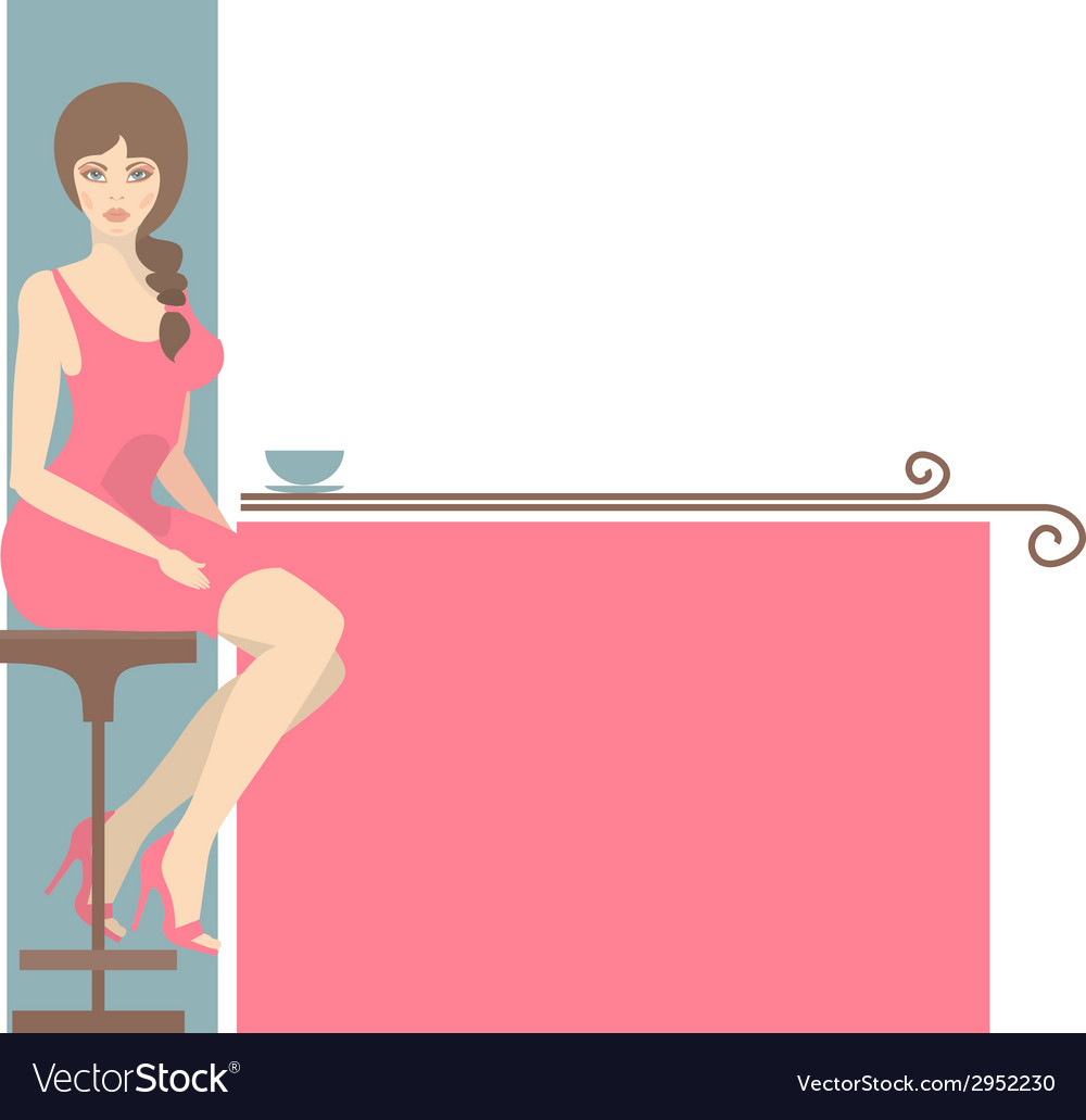Girl and coffee vector | Price: 1 Credit (USD $1)