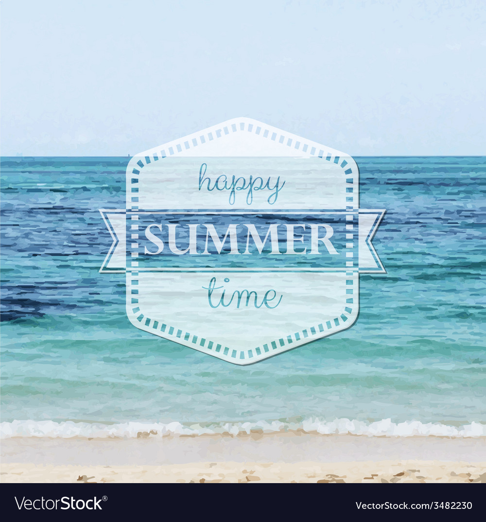 Happy summer time poster vector | Price: 1 Credit (USD $1)