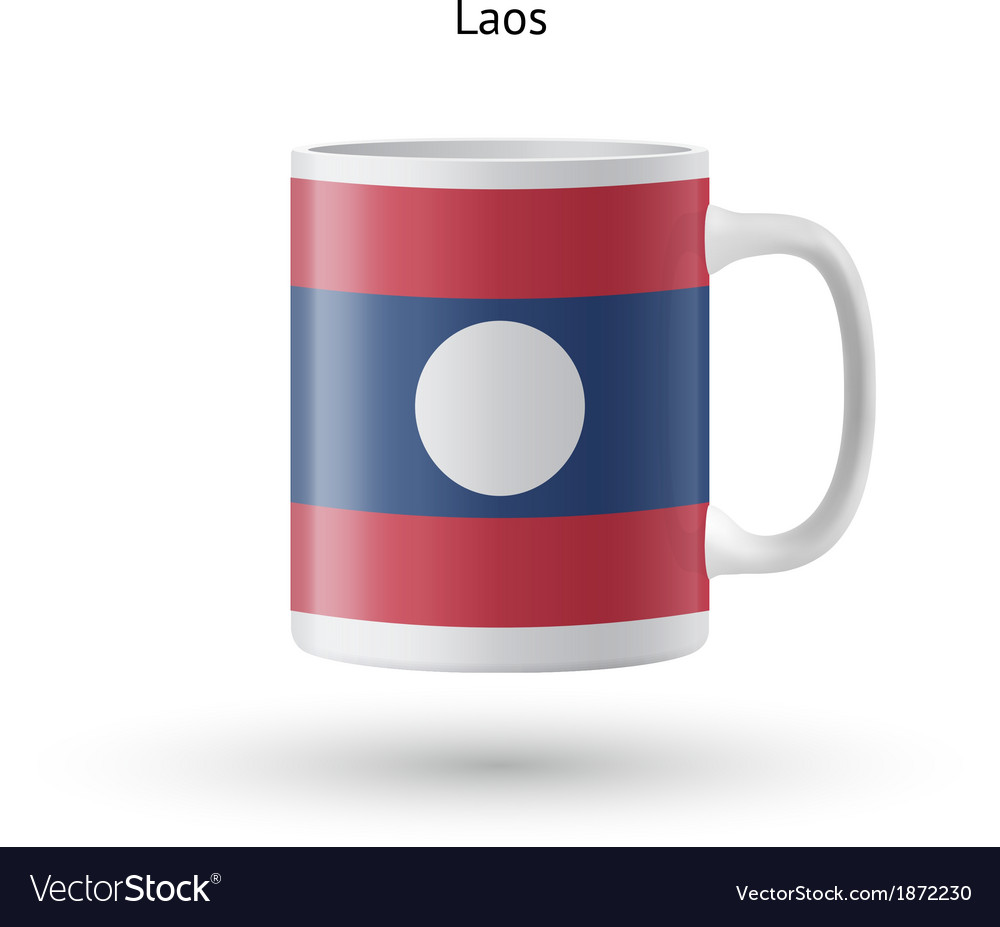 Laos flag souvenir mug on white background vector | Price: 1 Credit (USD $1)