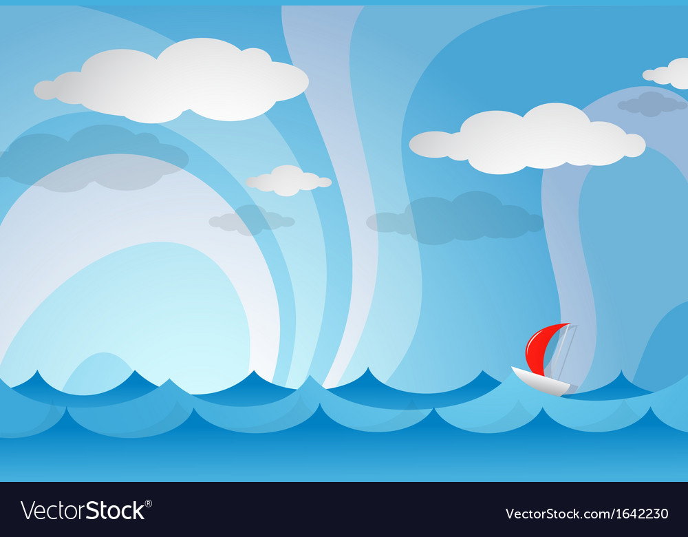 Ocean view with boat vector | Price: 1 Credit (USD $1)