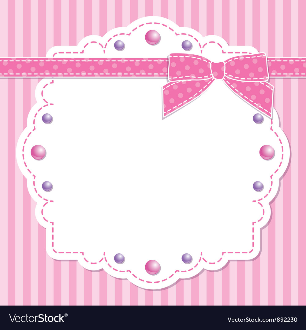 Pink frame with bow vector | Price: 1 Credit (USD $1)