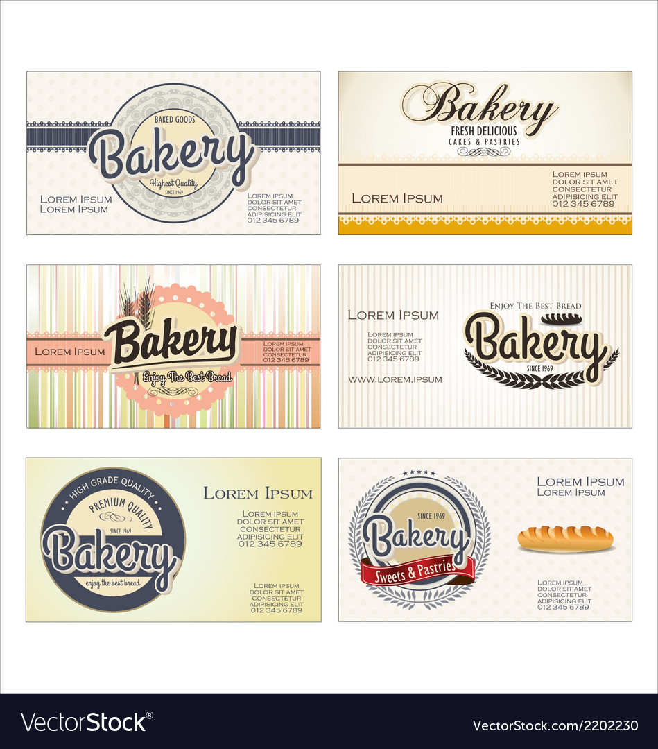 Set of 5 bakery business card templates vector | Price: 1 Credit (USD $1)