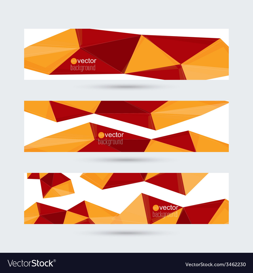 Set of banners with triangles and geometric shapes vector | Price: 1 Credit (USD $1)