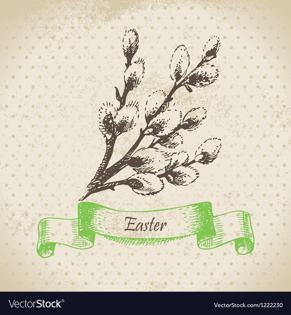 Vintage easter background with pussy-willow vector | Price: 1 Credit (USD $1)