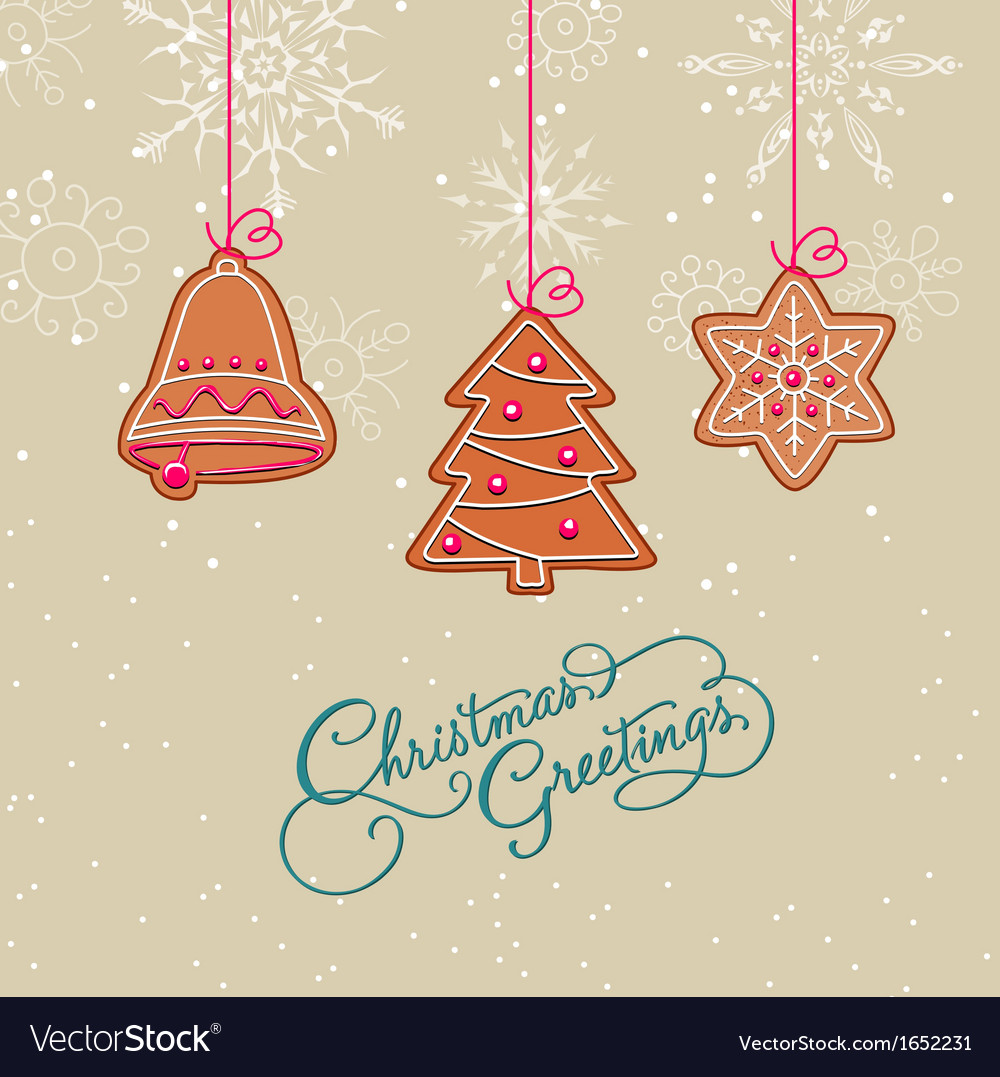 Christmas postcard with ornaments vector | Price: 1 Credit (USD $1)