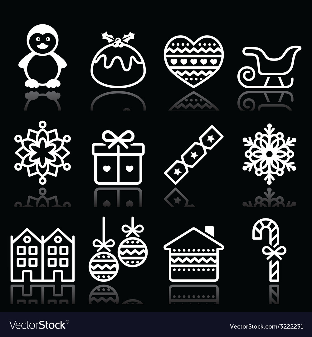 Christmas winter white icons with stroke on black vector | Price: 1 Credit (USD $1)