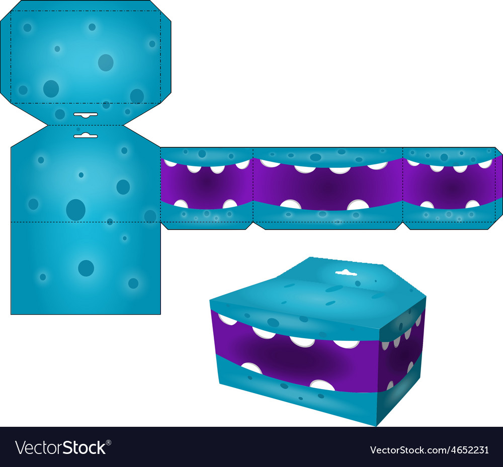 Die paper boxes templates with cartoon monsters vector | Price: 1 Credit (USD $1)