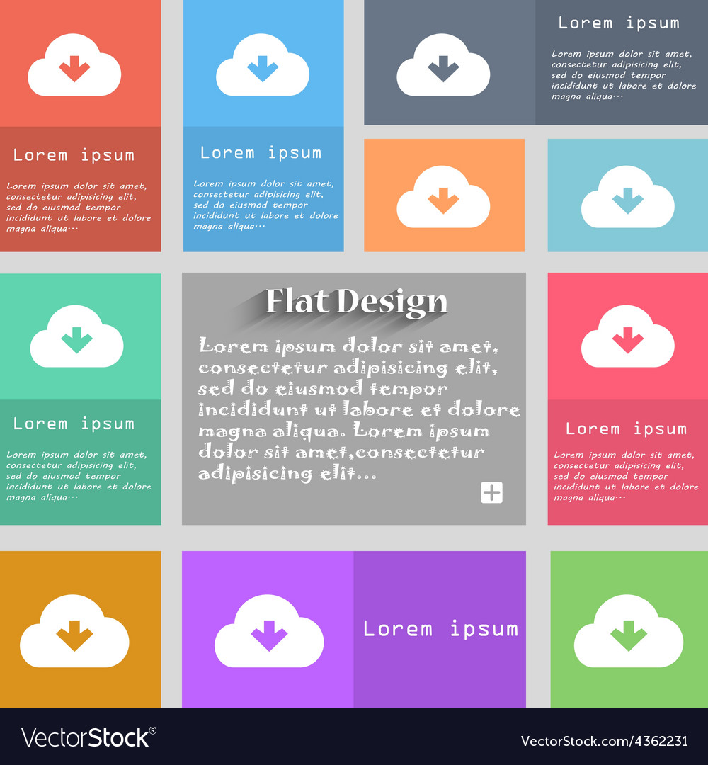 Download from cloud icon sign set of multicolored vector | Price: 1 Credit (USD $1)