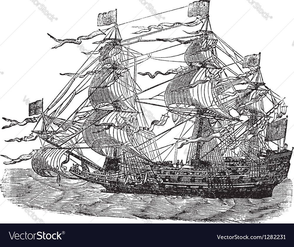 Hms sovereign vintage engraved vector | Price: 1 Credit (USD $1)