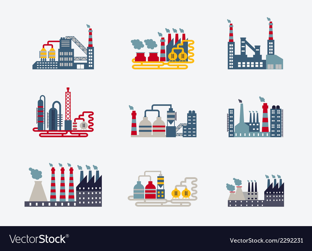 Industrial buildings icons vector | Price: 1 Credit (USD $1)