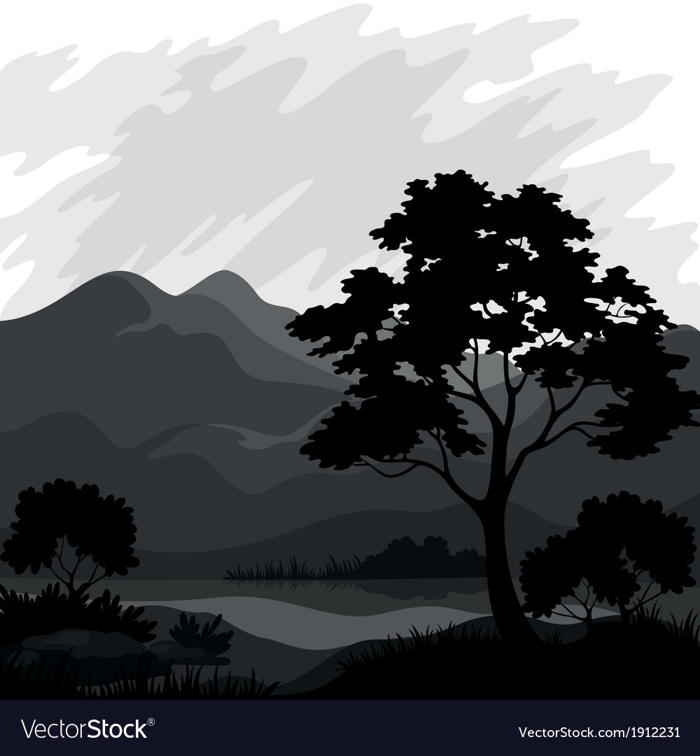 Mountain landscape with tree silhouettes vector | Price: 1 Credit (USD $1)