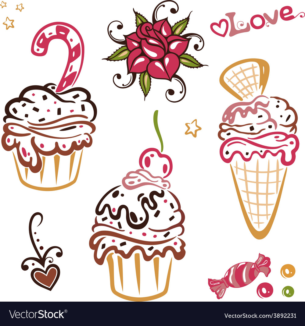 Muffins cakes vector | Price: 1 Credit (USD $1)