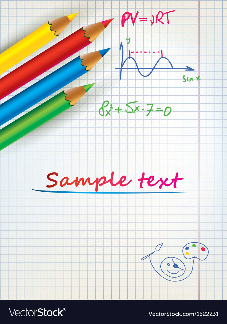 Paper sheet template with the colored penciles vector | Price: 1 Credit (USD $1)