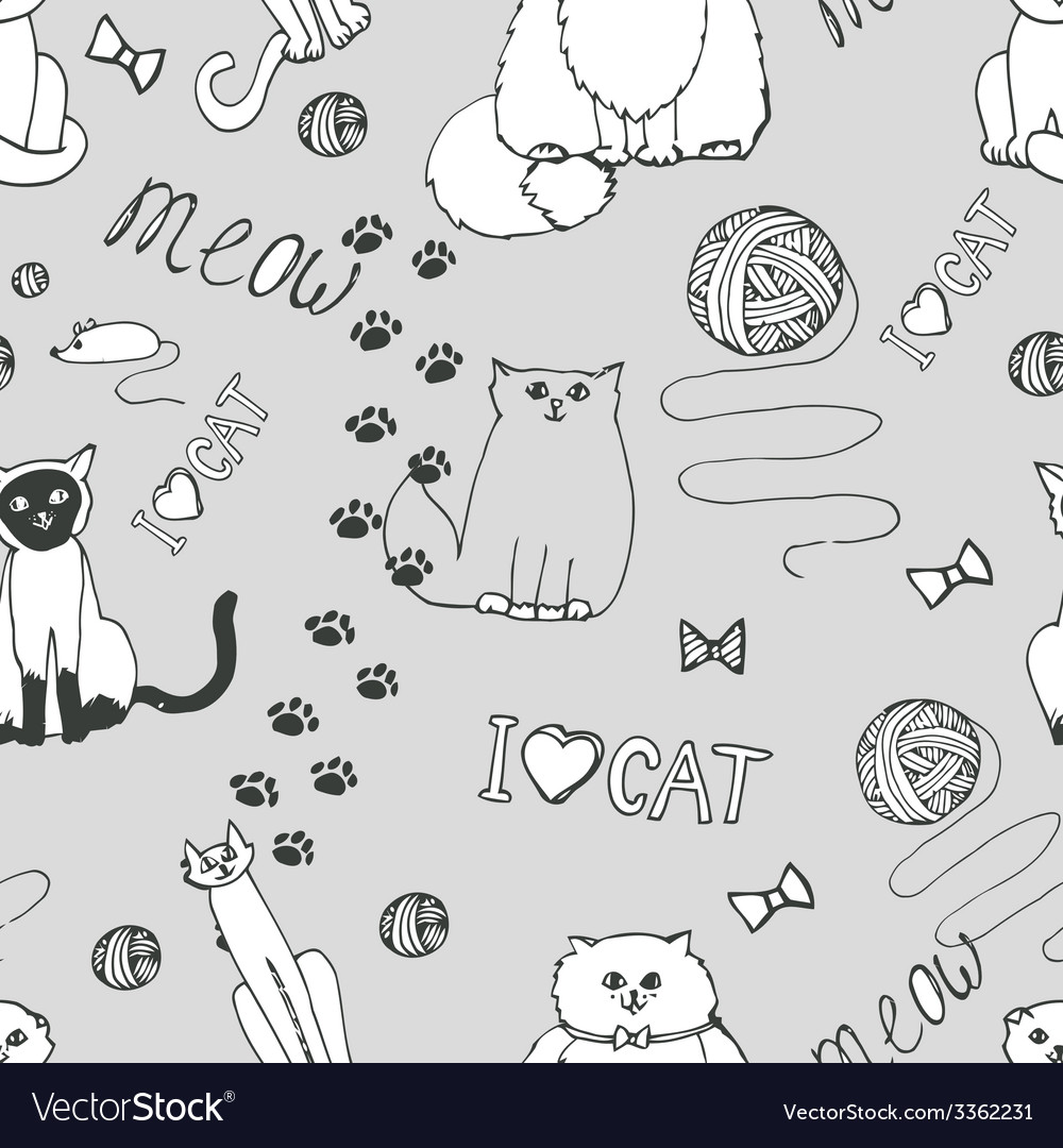 Seamless pattern with cats vector | Price: 1 Credit (USD $1)