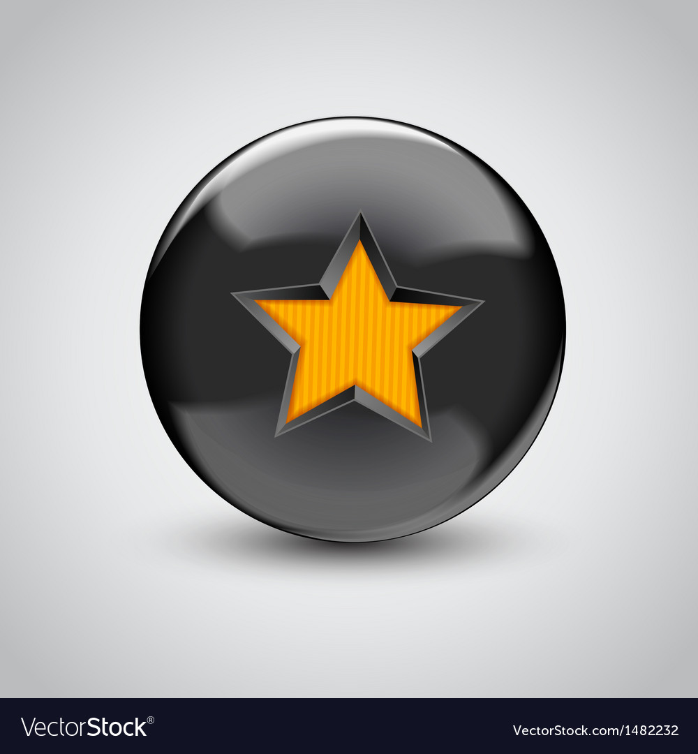 3d black sphere with star symbol vector | Price: 1 Credit (USD $1)