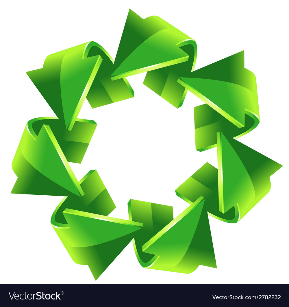 7 green recycling arrows button vector | Price: 1 Credit (USD $1)