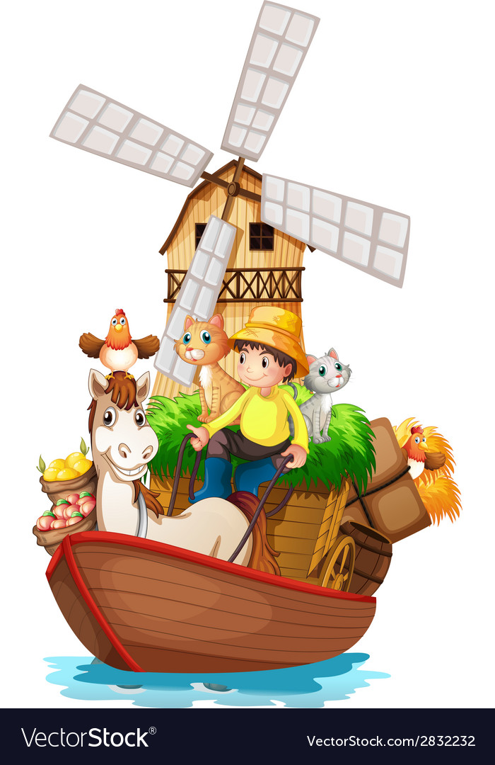 A boat with farm animals and farm fruits vector | Price: 1 Credit (USD $1)