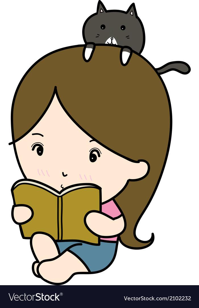 A small girl reading book cartoon vector | Price: 1 Credit (USD $1)